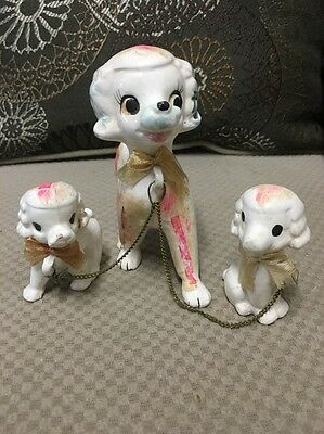 Vintage Porcelain Poodle Set Of Three Chained Together Figurine Collectibles