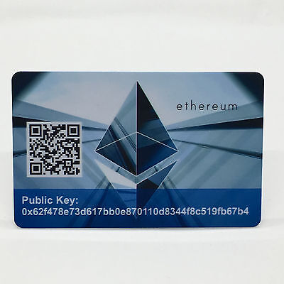 "Ethereum Card PVC Plastic ""Paper"" Wallet Durable SAFE and SECURE Cold Storage"