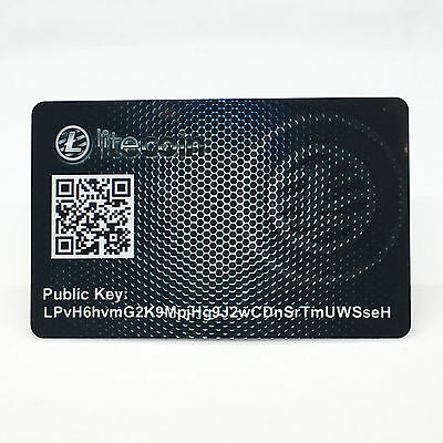 "Litecoin Card PVC Plastic ""Paper"" Wallet Durable SAFE and SECURE Cold Storage"
