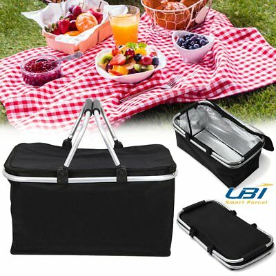 30L Large Outdoor Foldable Thermal Insulated Picnic Storage Zip Basket Bag Alumi