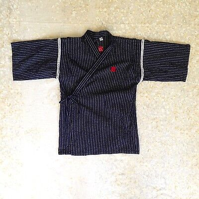 Boys' Sz XS 4-5 Happi Coat Navy Blue Striped Japanese Short Kimono Kid Child