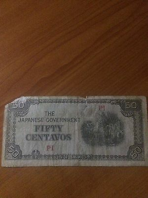 Japanese Government Fifty Centavos P1 bank note Rare $$$