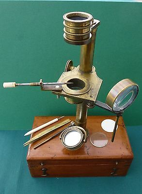 ANTIQUE UNSIGNED BRASS SIMPLE MICROSCOPE – THE SCHOOL MICROSCOPE c1860