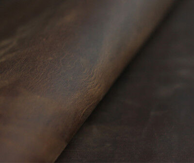 LEATHER Brown Crazy Horse Oil Tanned Cowhide 2mm Thick Craft DIY Choose Size