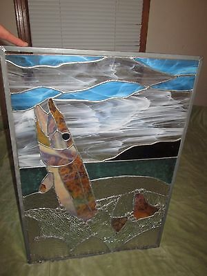 Antique American Figural Stained Glass Window Fish Trout Jumping from water Pane