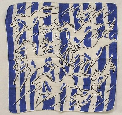 Vintage Ladies Hankie Horses & Dogs Blue and White First I've Seen !