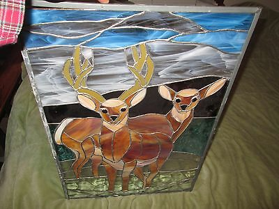 Antique American Figural Stained Glass Window Pair of Deer Pane Buck & Doe Pane