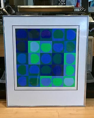 Beautiful Vasarely Op Art Silkscreen  Signed  Numbered And Framed