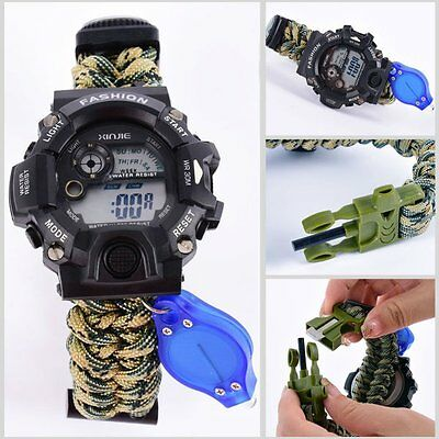 Outdoor Survival Watch Bracelet Tool/Flint/Whistle Camp Hiking Tool Gear Kits