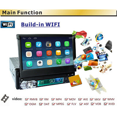 """7"""" Android 6.0 Single 1 Din GPS Flip Car Stereo Radio Player Touch Screen USB SD"""