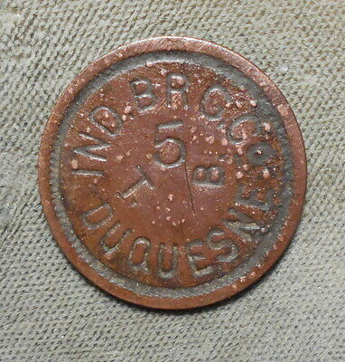 Pittsburgh PA Independent Brewing Co Duquesne T.B. 5 Pre-Pro Token Circa 1903-17