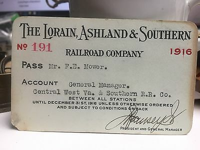 1916 LORAIN, ASHLAND and SOUTHERN Railroad Pass #191 issued to F.E. Mower CWV&S