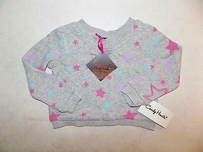 Candy Hearts Girls Stars Gray Pullover Crew Neck Sweater Cotton NWT Size 2T