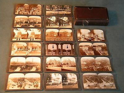Vintage Underwood and Underwood Stereoscope Washington DC Photos Set of 16, RARE