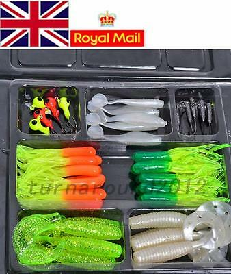 Fishing Lures Bait Tackle Soft Small Jig Head Box Set Lots Simulation Suite UK