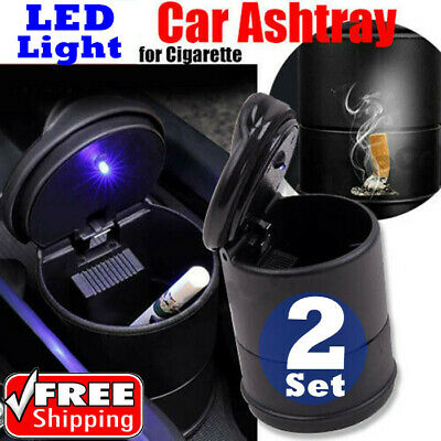 2x Car Truck LED Cigarette Smoke Ashtray Ash Cylinder Cup Holder Car Ashtray