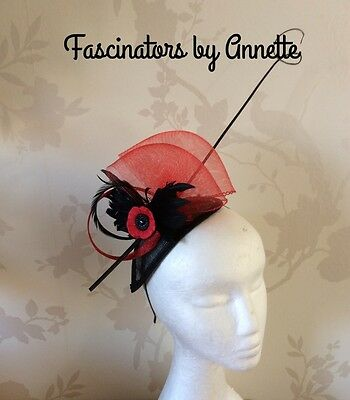 Black and Red fascinator Ascot, weddings, races