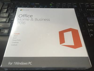 Microsoft Office 2016 Home and Business Windows English PC Key Card AND DVD