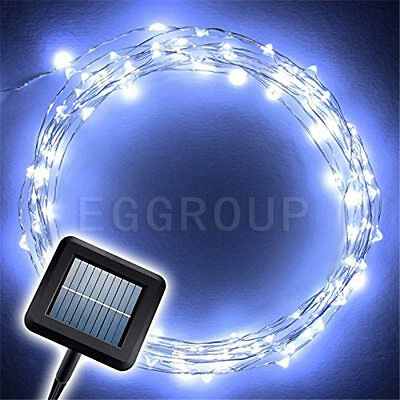 Solar Power White 10M 33FT 100LED Copper Wire String Fairy Light Xmas Party Lamp
