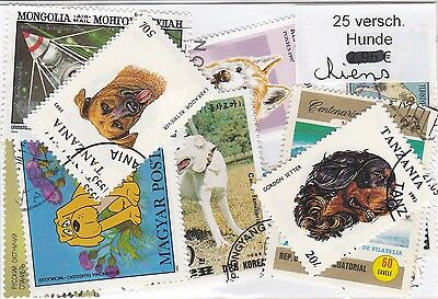 Chiens 25 Timbres Tous Differents