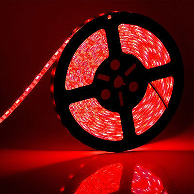 16.4ft 5M SMD 5050 Non Waterproof 300 LED Flexible Strip Light Lamp DC 12V Red