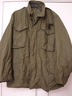 Vintage US Army Coat Man's Field M 65 OG 107 Nylon cotton sateen