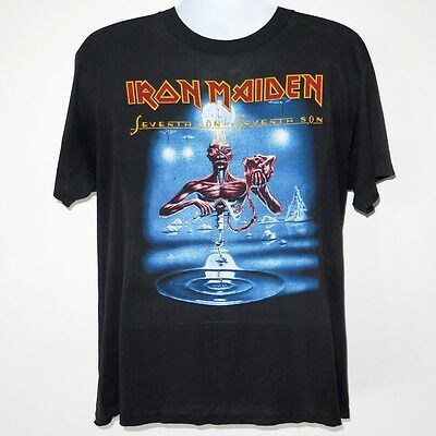 Vintage Original Iron Maiden Tee Shirt Seventh Son Usa Tour 1988 L/xl 505/50