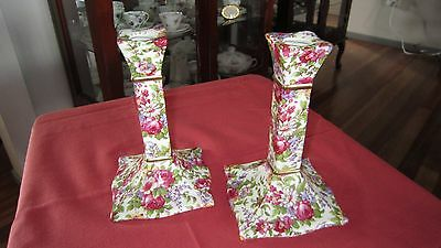 "Royal Winton Grimwades ""summertime"" Pair Of Candlestick Holders, Never Displayed"