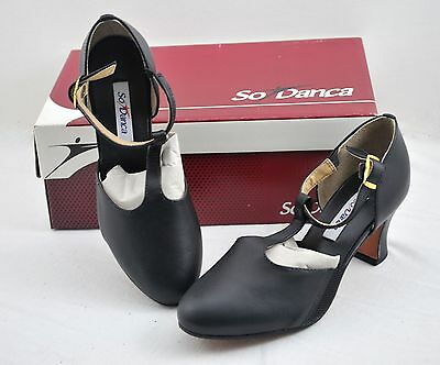 New w/ box NIB CH 56M So Danca T Strap, Character Shoes Blk Size US 4.5L 9145