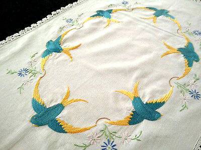 Stunning Huge Vintage Centrepiece~Heavily Hand embroidered Garland of Blue Birds
