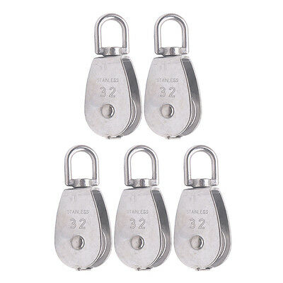 5x M32 Stainless Steel Single Sheave Swivel Eye Rope Lifting Pulley Load 250kg