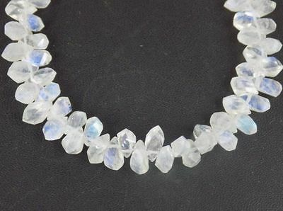 AAA 1 Strand White Rainbow Moonstone Twisted 5x7-7x9mm Faceted 7'' L Briolette