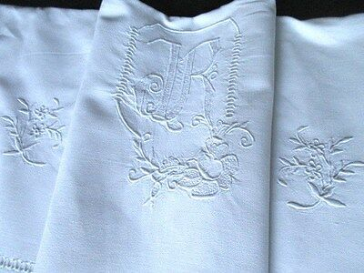 Vintage French Metis Linen Sheet Whitework Flower EmbroideryMonogram Ladder-work