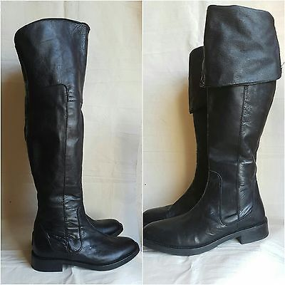 Bertie black leather over knee thigh high fold down slouch pirate boots uk 6 39