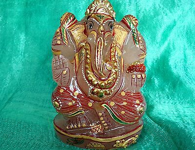"""ROSE QUARTZ GANESH Hand Painted-90mm  """"LORD OF SUCCESS"""" Free Combined Postage"""