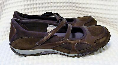 Near New Merrell Womens Flat Brown/bronze Leather Casual Shoes Size 38.5 Or 8 Us