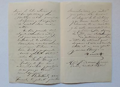 CHILE Peru signed letter Ambrosio Montt to General Manuel Prado Pacific War 1878