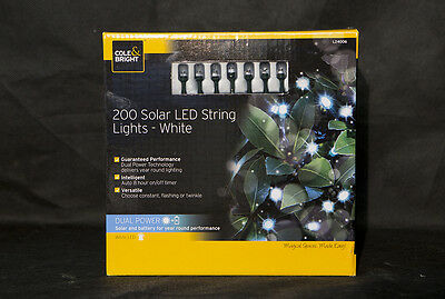 Cole & Bright 200 Solar LED Dual Power String Lights - White