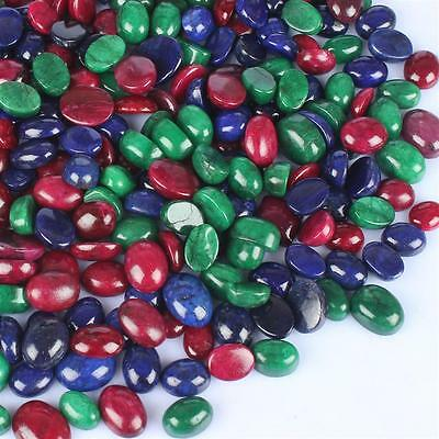 101.015 Ct Natural Cabochon Green Emerald, Red Ruby & Blue Sapphire Gemstone Lot