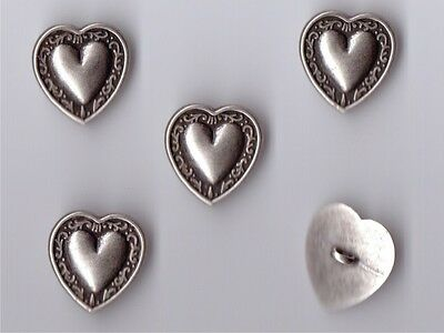 Antique Style Heart Shaped Metal Buttons Medium Size 28 - X 5 - Gothic