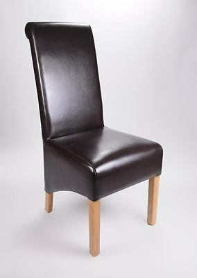 Set of six Leather Dining Chairs Scroll High Back Tall Oak Legs Furniture Brown