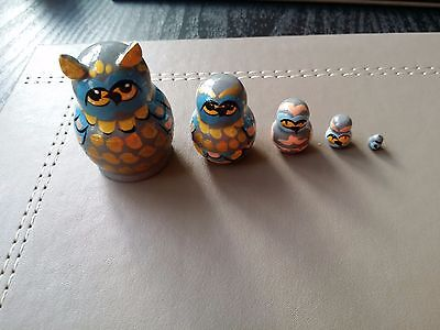 Russian tiny hand-painted OWL MINI nesting doll, 5 dolls set