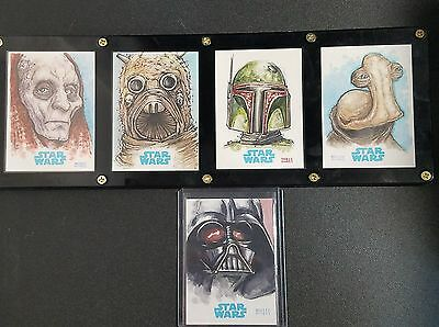 Star Wars Sketch Card Lot Of (5) By Erik Maell  Wow !! Look ---->