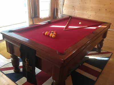 pool table 7x4 slate bed fair condition few marks on cloth