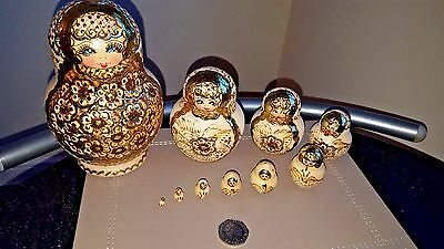 Russian Doll, Matryoshka, handpainted Gold nesting doll (10 dolls set)