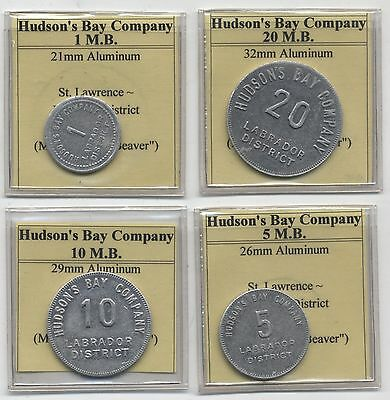 Canada Hudson Bay Company 1,5,10 & 20 M.B Tokens***Collectors***Rare***