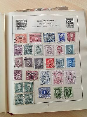 Czechoslovakia - Selection of Used & Unused Stamps on Old Album Page