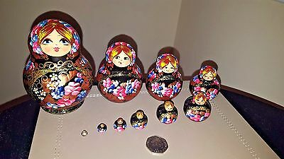 Russian Doll Matryoshka Babushka Cute Handpainted Nesting Doll (10 dolls set)