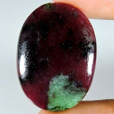24.75cts 100% NATURAL BEAUTIFUL DARK PINK RUBY ZOISITE OVAL CABOCHON A+ GEMSTONE