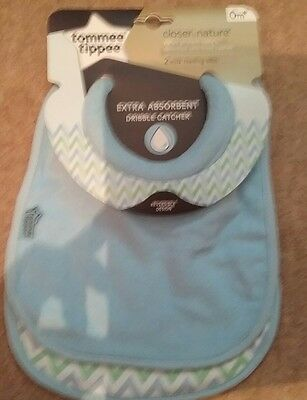 Tommee  Tippee Closer To Nature 2 Milk Feeding Bibs Absorbent Dribble Catcher -